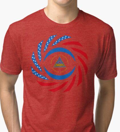 Nicaraguan American Multinational Patriot Flag Series Tri-blend T-Shirt