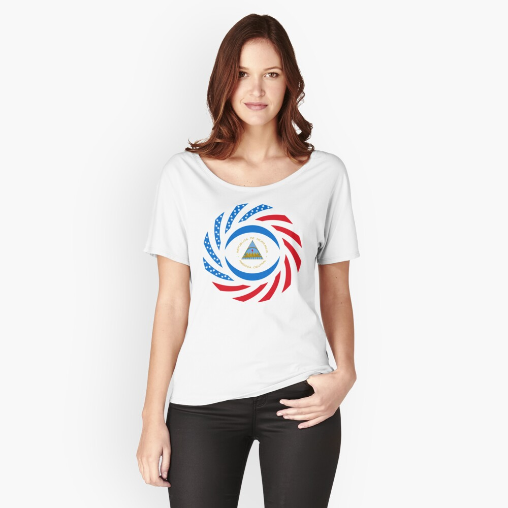 Nicaraguan American Multinational Patriot Flag Series Relaxed Fit T-Shirt