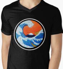 Sunset Hokusai Wave Larger Version Men's V-Neck T-Shirt