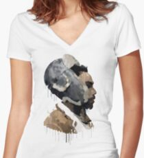 Gambino Droplet No Background Women's Fitted V-Neck T-Shirt