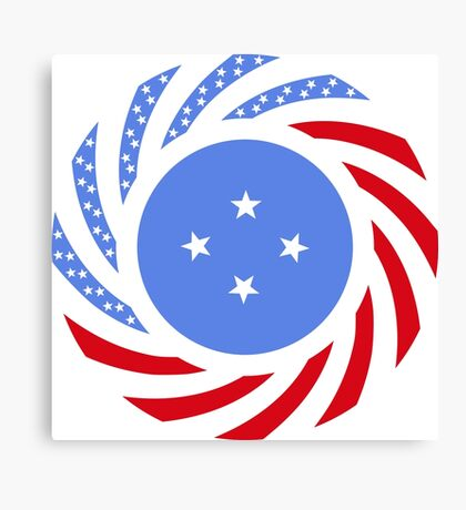 Micronesian American Multinational Patriot Flag Series Canvas Print