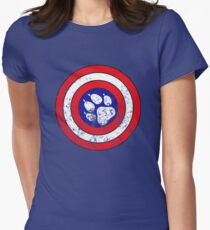 Captain Pupmerica (Distressed)  Women's Fitted T-Shirt