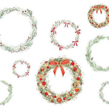 Conjunto de pegatinas de guirnaldas de invierno de haleyluden