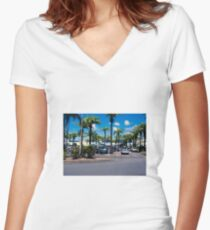 Marina Parking Lot Women's Fitted V-Neck T-Shirt