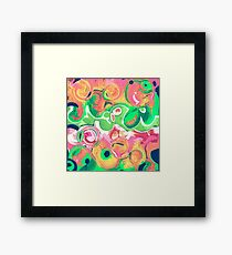 Abstract shapes fruity swirls Framed Print