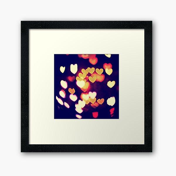 Colorful Hearts Bokeh Vintage Blue Yellow Orange II Framed Art Print