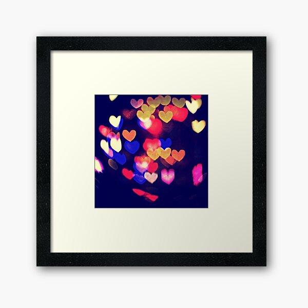 Colorful Hearts Bokeh Vintage Blue Yellow Orange V Framed Art Print