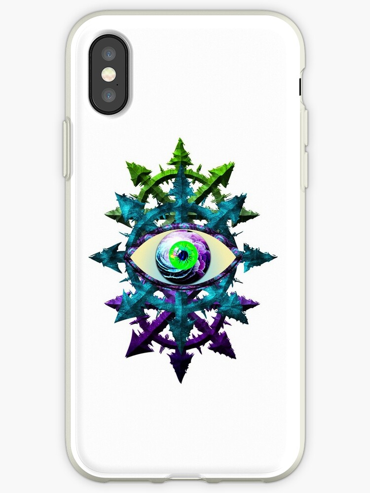 'EVIL EYE WITH CHAOS STAR - meadow ***find hidden gems in my portfolio***'  iPhone Case by sleepingmurder