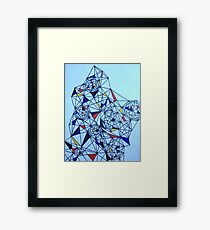 Geometric Drawing in Primary Colors; Mondrian-inspired Framed Print