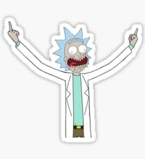 Rick flips off the world. Sticker