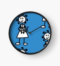 The Girl with the Curly Hair Holding Cat - Blue Clock
