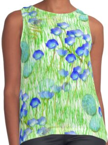 Blue Flowers Stones And Green Grass Contrast Tank