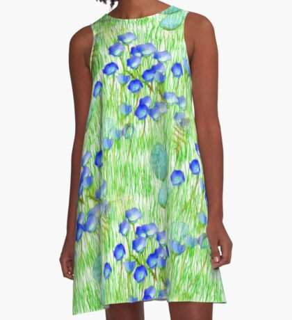 Blue Flowers Stones And Green Grass A-Line Dress