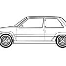 Renault R5 Turbo Line drawing artwork by RJWautographics