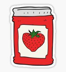 cartoon strawberry jam jar Sticker