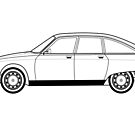 Citroen GS Line drawing artwork by RJWautographics