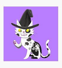 Black and white witches cat Photographic Print