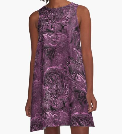 Purple Chaos Abstract Design A-Line Dress