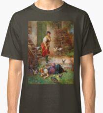 Hans Zatzka Painting Vintage Retro Decor Girls and birds Classic T-Shirt