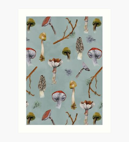 Mushroom Forest Collecting Party Art Print