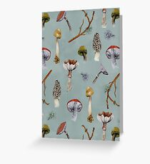 Mushroom Forest Collecting Party Greeting Card