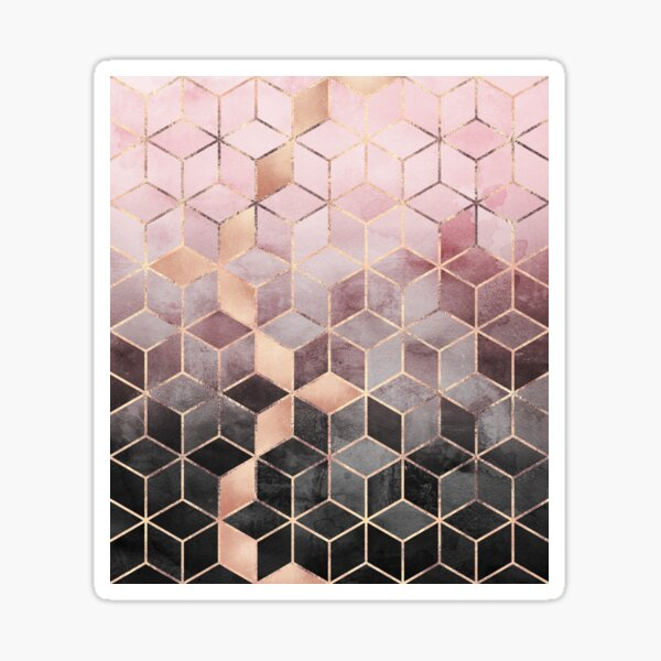 Pink And Grey Gradient Cubes Sticker
