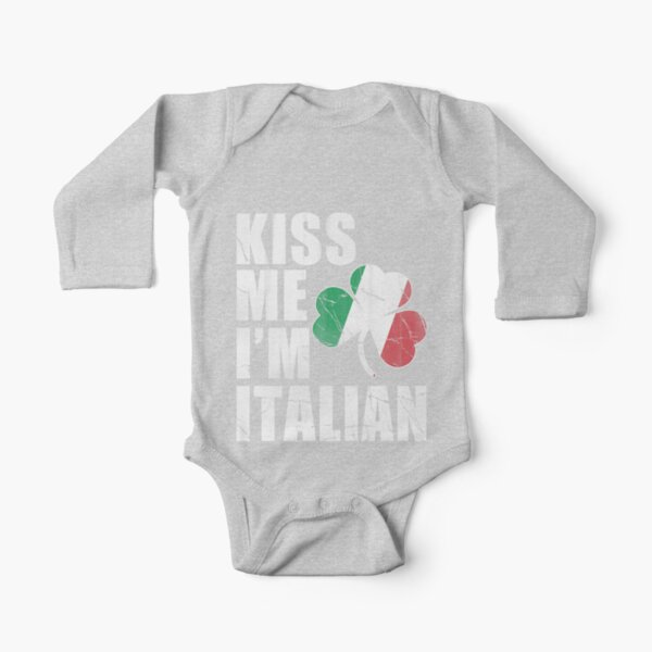 Kiss Me Im Italian Long Sleeve Baby One-Piece