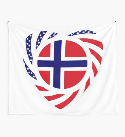 Norwegian American Multinational Patriot Flag Series 2.0 Wall Tapestry