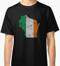 Irish Flag Wisconsin State Outline Map Classic T-Shirt