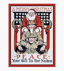 Antique Merry Christmas and peace, Santa and soldiers Photographic Print