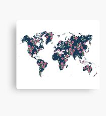 World map - roses pattern and blue background Canvas Print