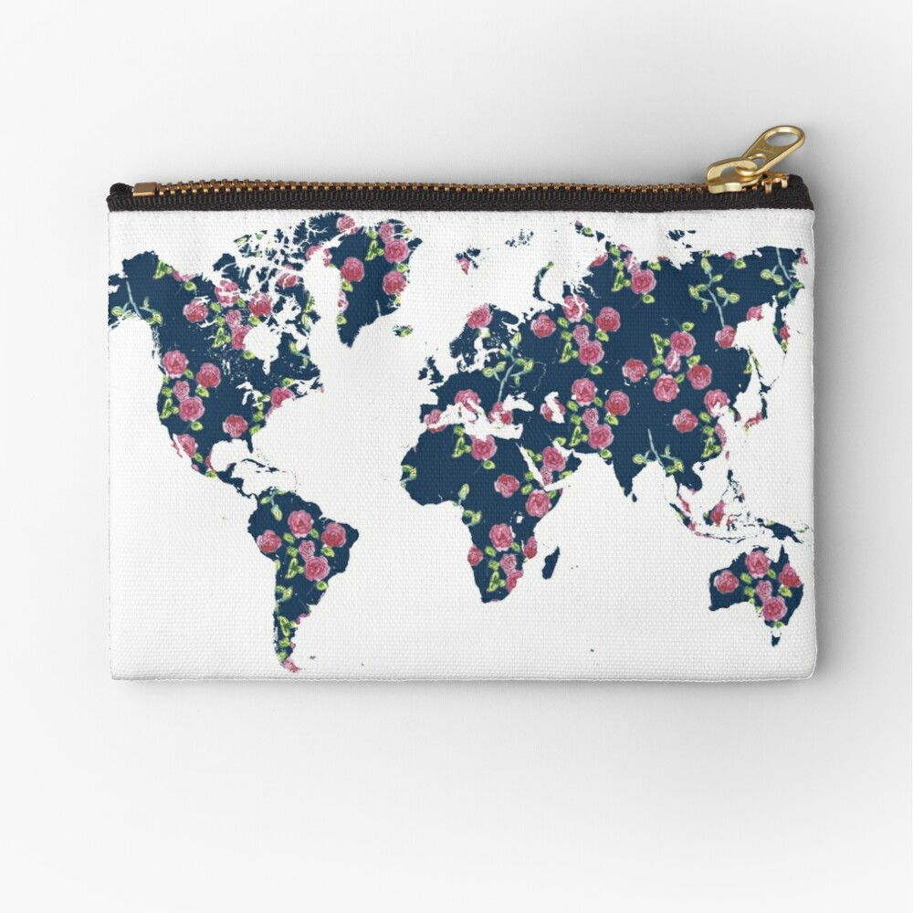 World map - roses pattern and blue background Zipper Pouch