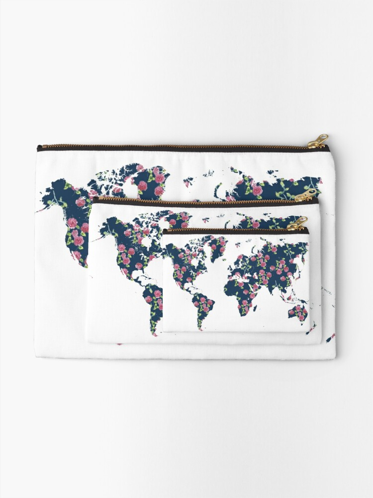 Alternate view of World map - roses pattern and blue background Zipper Pouch