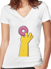 SIMPSONS DONUT Women's Fitted V-Neck T-Shirt