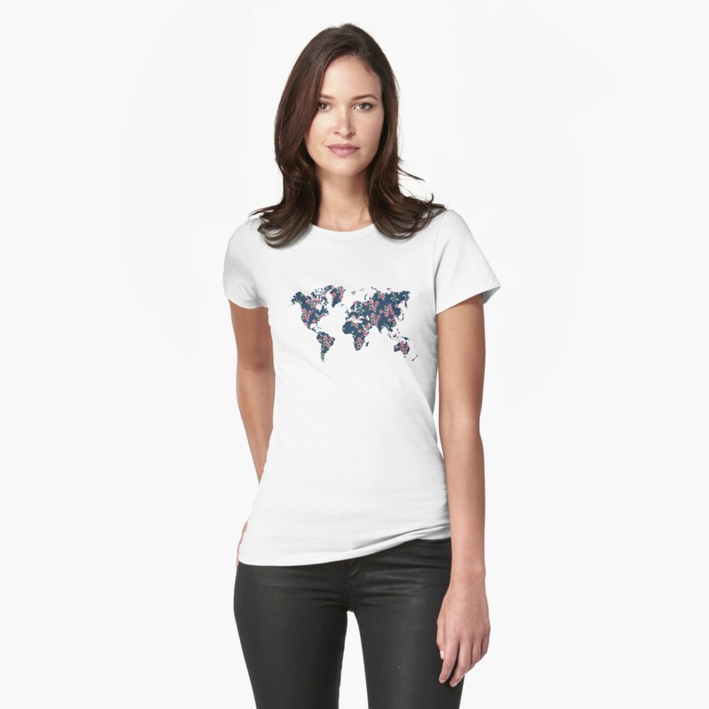 World map - roses pattern and blue background Fitted T-Shirt