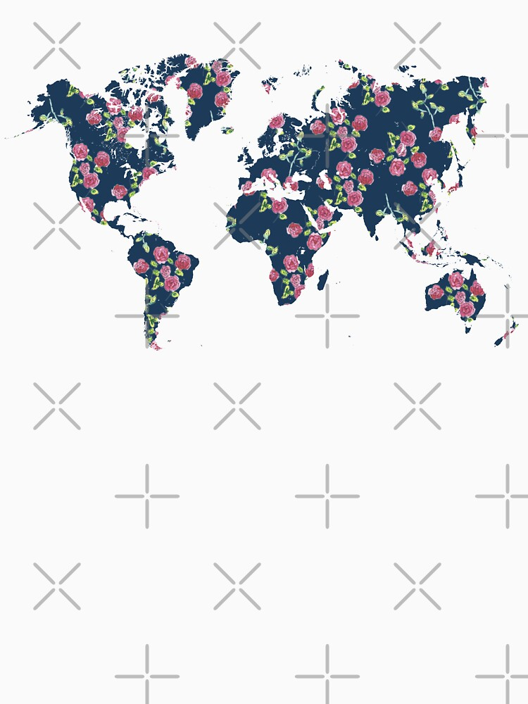 World map - roses pattern and blue background by siyi