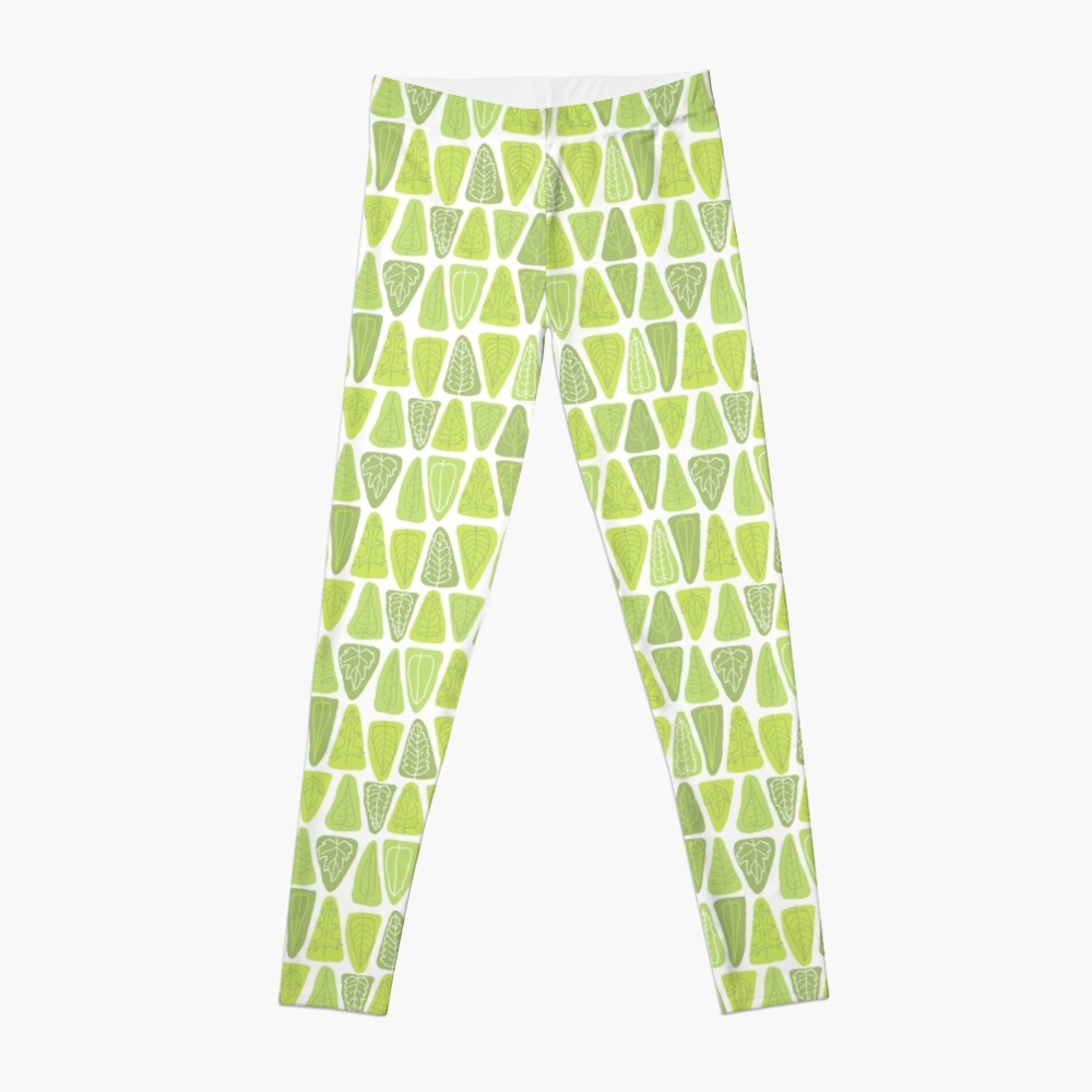 Mid Century Triangle Leaves in Shades of Green Leggings