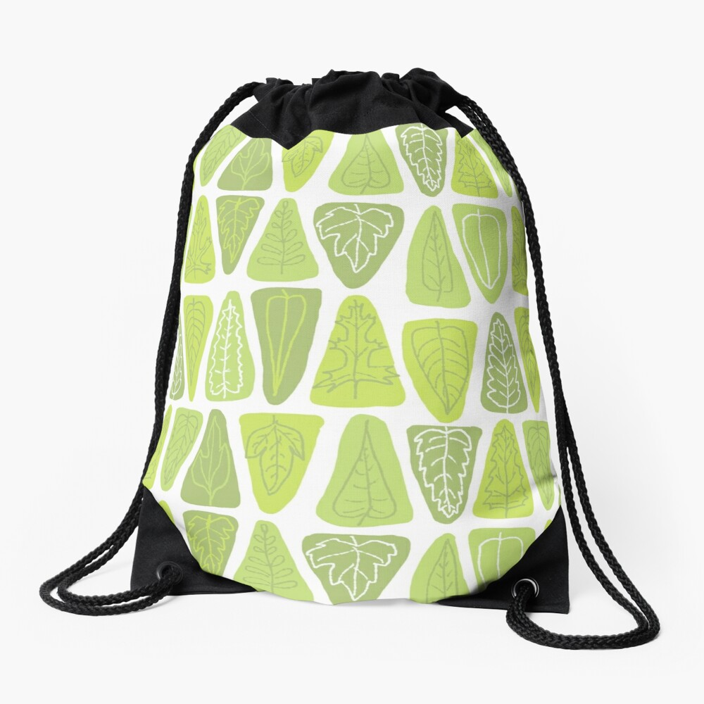 Mid Century Triangle Leaves in Shades of Green Drawstring Bag