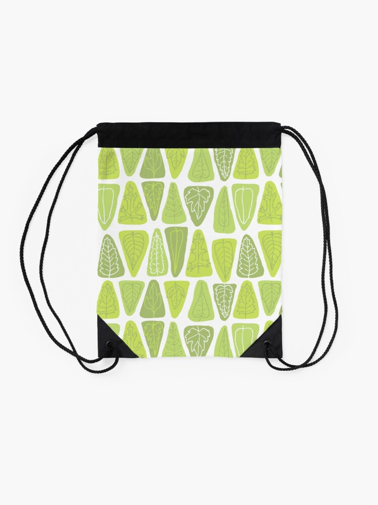 Alternate view of Mid Century Triangle Leaves in Shades of Green Drawstring Bag