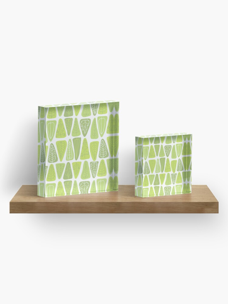 Alternate view of Mid Century Triangle Leaves in Shades of Green Acrylic Block