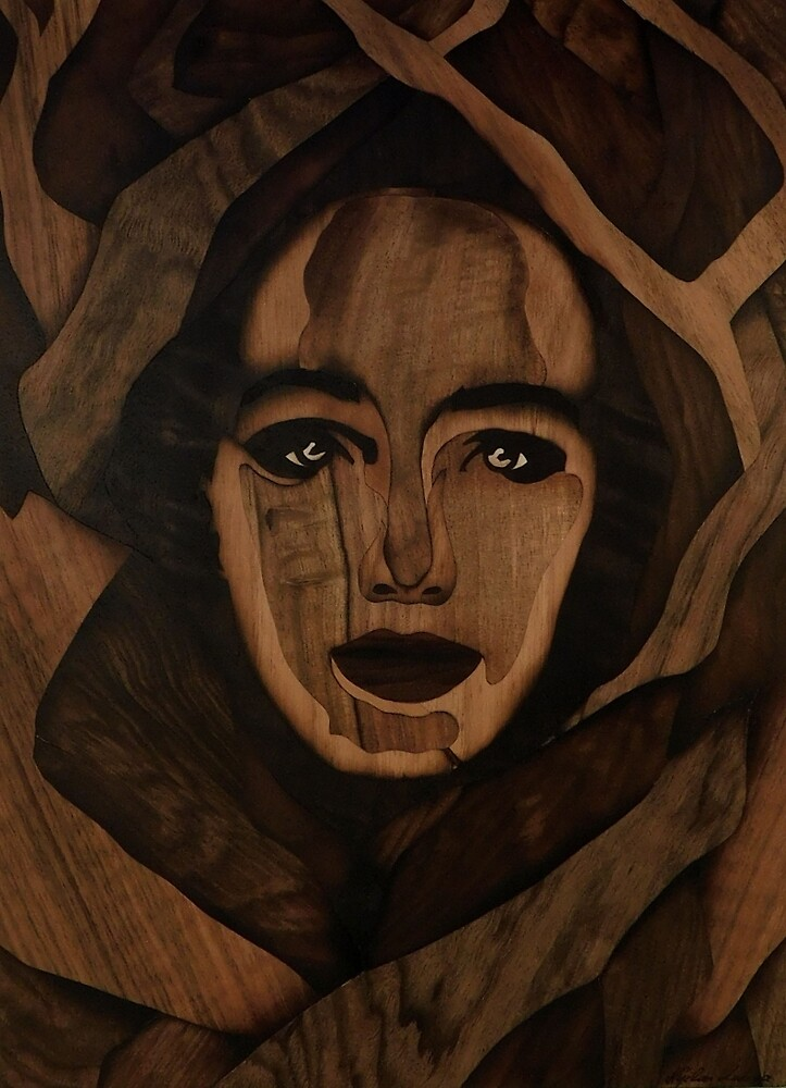 Fantasy wood face of nature woman marquetry by Andulino