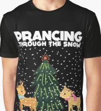 Cute Funny Prancing Through the Snow Graphic T-Shirt