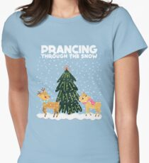 Cute Funny Prancing Through the Snow Womens Fitted T-Shirt