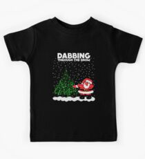 Cute Funny Dabbing Through the Snow Kids Tee