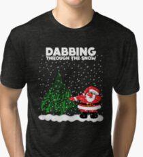 Cute Funny Dabbing Through the Snow Tri-blend T-Shirt