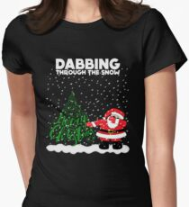 Cute Funny Dabbing Through the Snow Womens Fitted T-Shirt