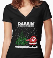 Cute Funny Dabbin' Through the Snow Women's Fitted V-Neck T-Shirt