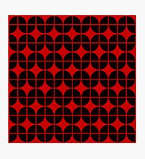 Optical Illusion Pattern Neon Red on Black Photographic Print