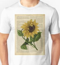 Botanical print, on old book page - flowers- Sunflower  Unisex T-Shirt