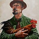 Man with a Chicken by kevinpeddicord